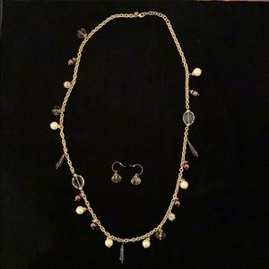 Stella & Dot Gold/Amber/Pearl Necklace & Earrings